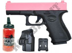 G15H BUNDLE Metal Airsoft BB Gun Black and Pink with Holster/Belt Clip and Pellets